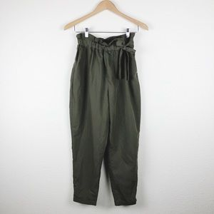 Zara Basic Olive Green Paperbag Pants